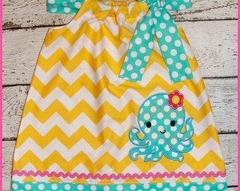 Super Cute Summer Octopus  Pillowcase style dress Yellow Chevron and light blue polka dot dress
