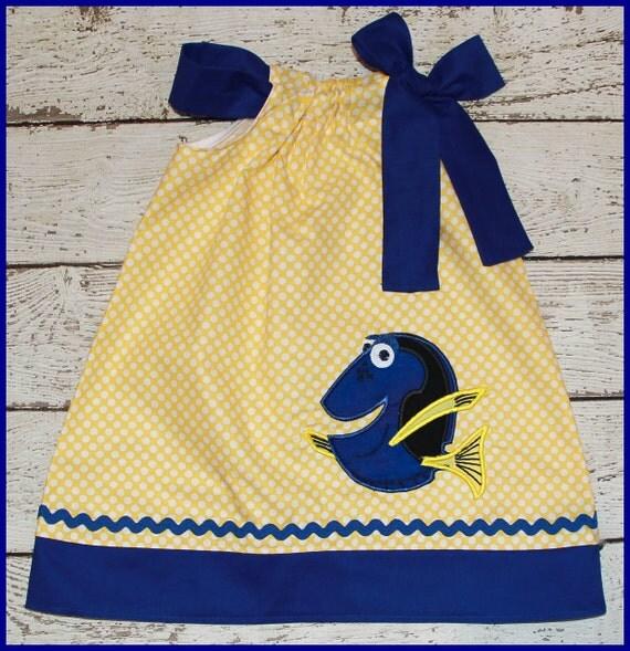 Dory Pillowcase style dress  Yellow Polka dot and Blue dress Finding Nemo Dory