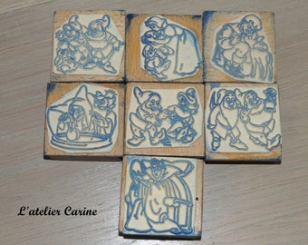 Lot of 7 pads ink theme snow white and the 7 dwarfs, stamped, snow white, dwarfs.