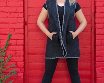 cardigan/100%wool vest/plus size cardigan/without sleeves cardigan/handmade vest