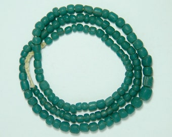 Antique Indo Pacific Padres Aqua Blue Green Glass Bead Trade Wind Tribal Strand #2103