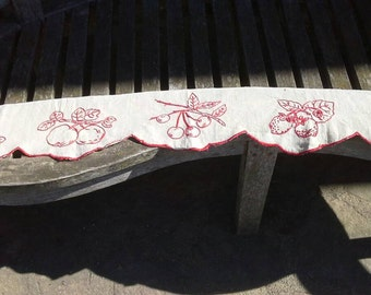 Vintage French red embroidered shelf trimming