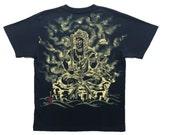 Free shipping Buddhism Zen T-shirts Fudo Myo-O Japanese Sumi-e Art black Hnadmade