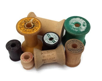 Assorted Wooden Sewing Spools, Vintage Empty Thread Spools
