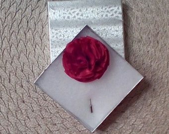 Handcrafted Red Flower Lapel Pin