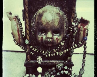 HellBorn Baby Haunted Jewelry Box Dark Altered Horror Art Ooak