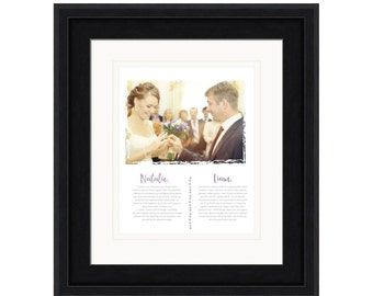 Framed wedding vows, wedding vow art, wedding vows print, wedding photo print, 1st anniversary, wedding vow keepsake, framed vows. wedding