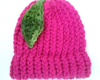 Newborn Pink Hat with Green Ombre Leaf