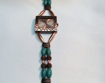 Beaded copper and magnesite watch