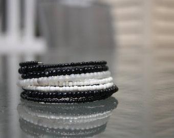 Multi-Layer B&W Wrap Bracelet
