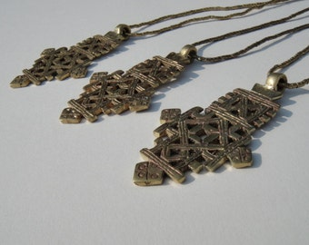 Brass Ethiopian Cross Necklace