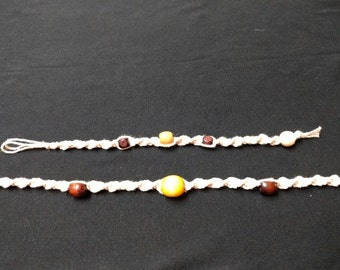 Hemp and Wooden Beads Necklace and Bracelet Set