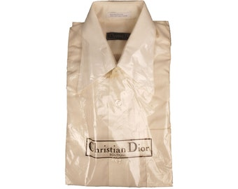 Vintage 1970s Christian Dior Boutique Mens Shirt - Creamy White - Deadstock - NOS, Long Sleeved - S