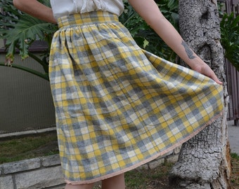 70s Plaid Wool Skirt