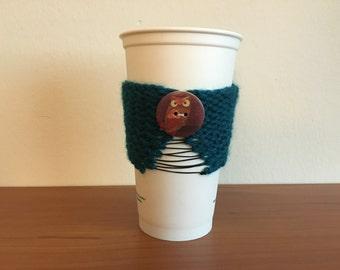 Owl Corset Coffee Cozy - Aqua Green