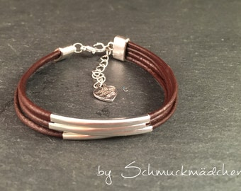 Leather Bracelet silver Brown