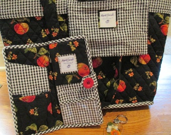 Bag by April Cornell for Silvestri, w/ matching billfold and key chain, Black w/print and gingham