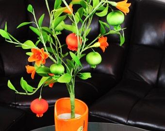 Nylon Artificial Pomegranate Tree Bonsai Flower Artificial Plant HANDMADE Fruits