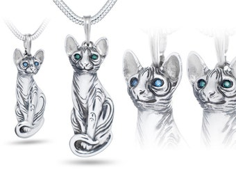 Cat Sphynx pendant - sterling silver / Cat necklace