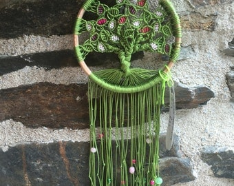 Macrame tree of life in green