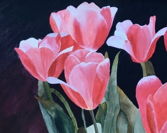 Flower Watercolor Painting Print of Tulips