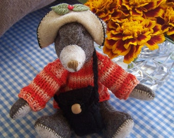 "Bear bespoke handmade wool felt. My name is ""Benjamin"""