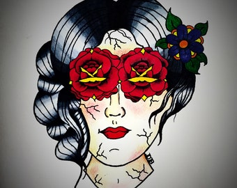 Lady face with roses