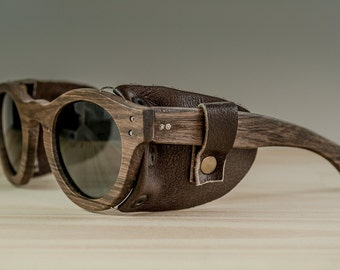 Wood sunglasses model Buenos Aires leather, Brown sunglasses with leather sideshields, Polarized lenses, Customizable