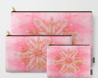 Feathers in PINK-Carry All Zipper Pouch -Set of 3