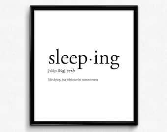 Sleeping definition, college dorm girl, dictionary art, minimalist poster, funny definition print, dorm decor, wedding gift, office decor