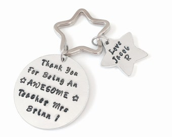 Personalised Teacher Gift, Thank you Gift, Thank you Teacher Gift, Awesome Teacher, Handstamped Keyring, Leaving Gift, End of Term Gift,