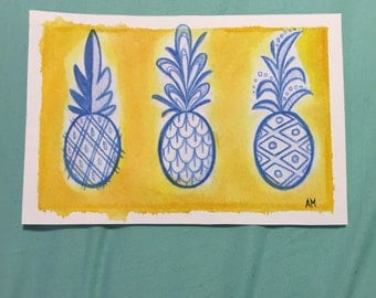 Summer Pineapples Watercolor Painting