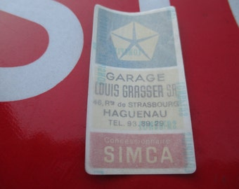 Original SIMCA/Chrysler Garage Grasser window sticker