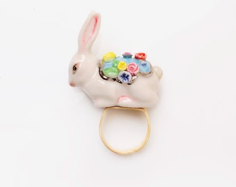 Porcelain Rabbit Ring/ Statement Ring/ Porcelain Ring/ Ceramic Ring/ Rabbit Ring/ Bunny Ring/ Porcelain Ring/ Animal ring/ Ring