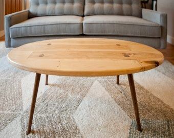 Mid Century Modern Style Custom Coffee Table built using reclaimed pallet boards and custom walnut legs