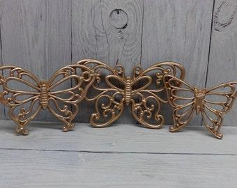 Vintage Homco Butterflies-Gold Butterflies-Pink and Gold Nursery-Gold Nursery-Vintage Butterflies-Butterfly Wall Hangings