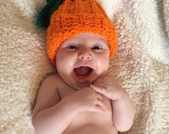 Crochet Newborn Pumpkin Hat, Halloween, pumpkin hat, pumpkin hat, fall hat, winter hat, photo prop