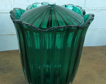 Studio Nova Balmore Style Green Lead Crystal Covered Biscuit Barrel/Candy Jar