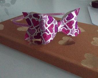 Heart Glitter Bow Headband