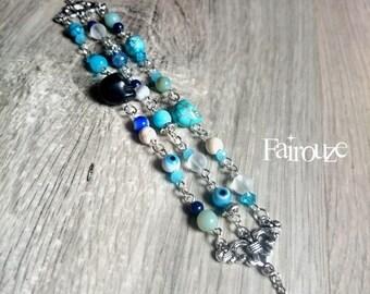 Original bracelet 3 rows rock spirit Patti, turquoise, Jasper, howlite, Swarovski Crystal, Bohemian, rock, eye, cranne