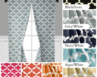 Quatrefoil Curtains Lattice Trellis Window Treatments Navy Blue Gray Black  Yellow Orange Curtain Panels Drapes Valance
