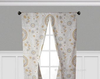 Tan Gold Gray Beige Curtains Window Treatments Floral Curtain Panels Drapery Living Room Home Decor Custom