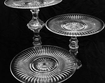 3 Clear Glass Cake Stands Wedding Wedding Cupcake