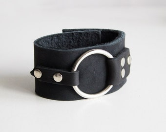 leather bracelet with a metal ring