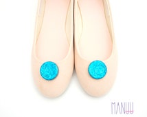 Blue/turquoise glitter circles - shoe clips Manuu