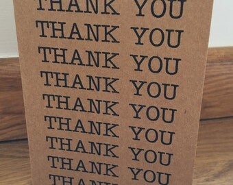Thank you cards, pack of 10, recycled brown kraft card, vintage rustic style