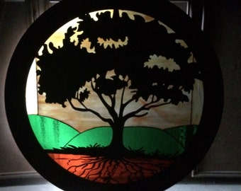 """Tree of life stained glass and metal 34"""" circle with lights"""