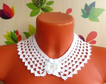 Воротничок крючком Чешуйки Crochet collar