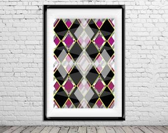 Geometric Art Poster Print Fusia Black yellow Diamonds