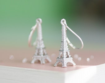 Eiffel Tower earrings, La Tour Eiffel earrings, Paris earrings, silver drop earrings, silver earrings